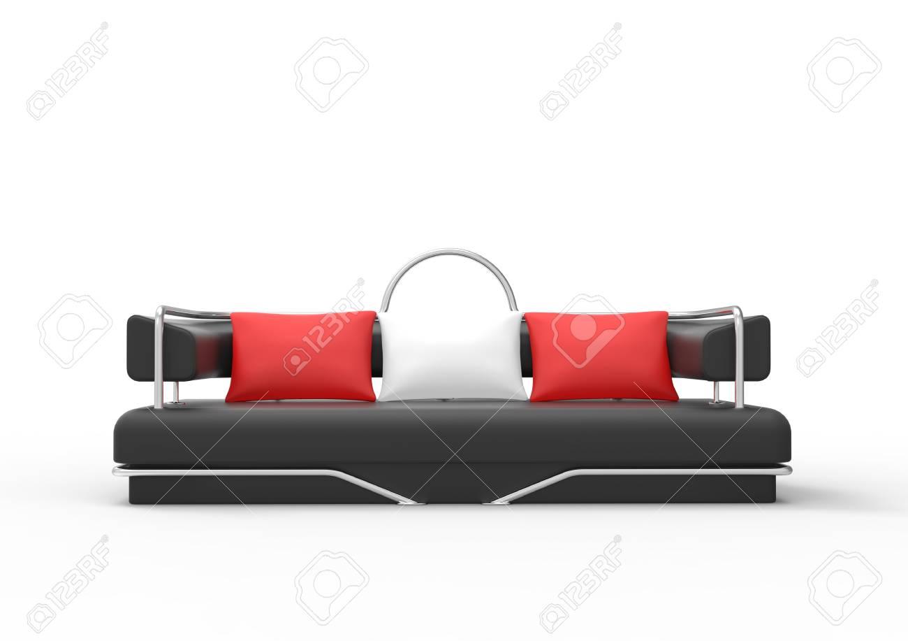 Cuscini Bianchi E Neri vista frontale del sofà nero con cuscini rossi e bianchi