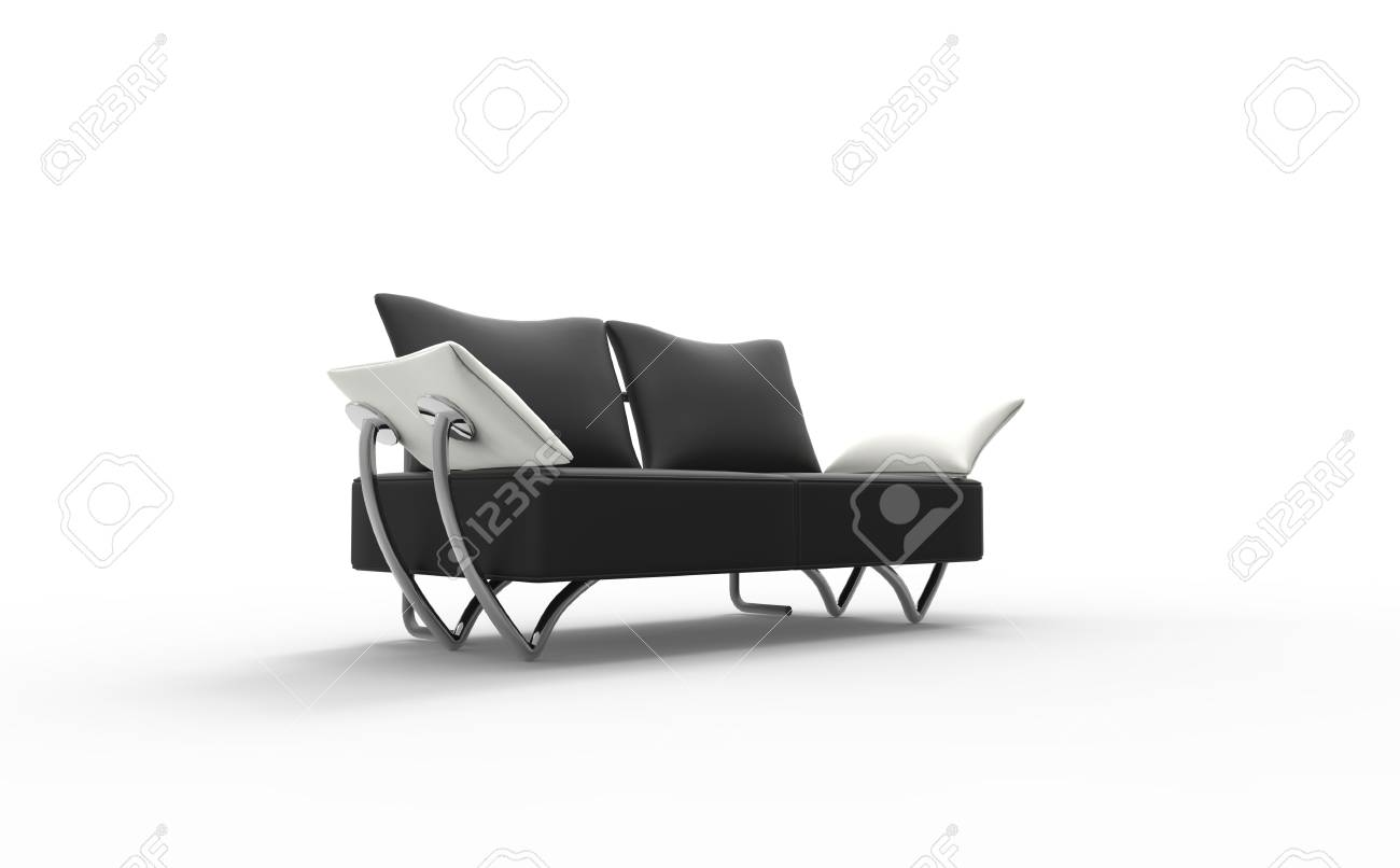 Divano Nero Cuscini : Moderna divano nero con il bianco cuscini foto royalty free