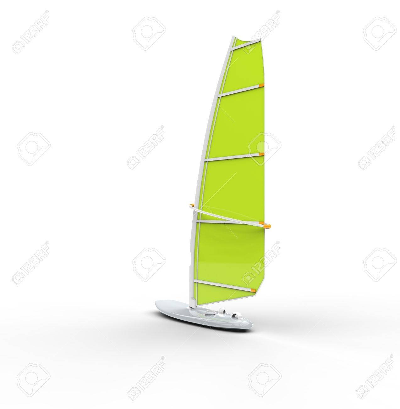 Green windsurf board, isolated on white background, ideal for