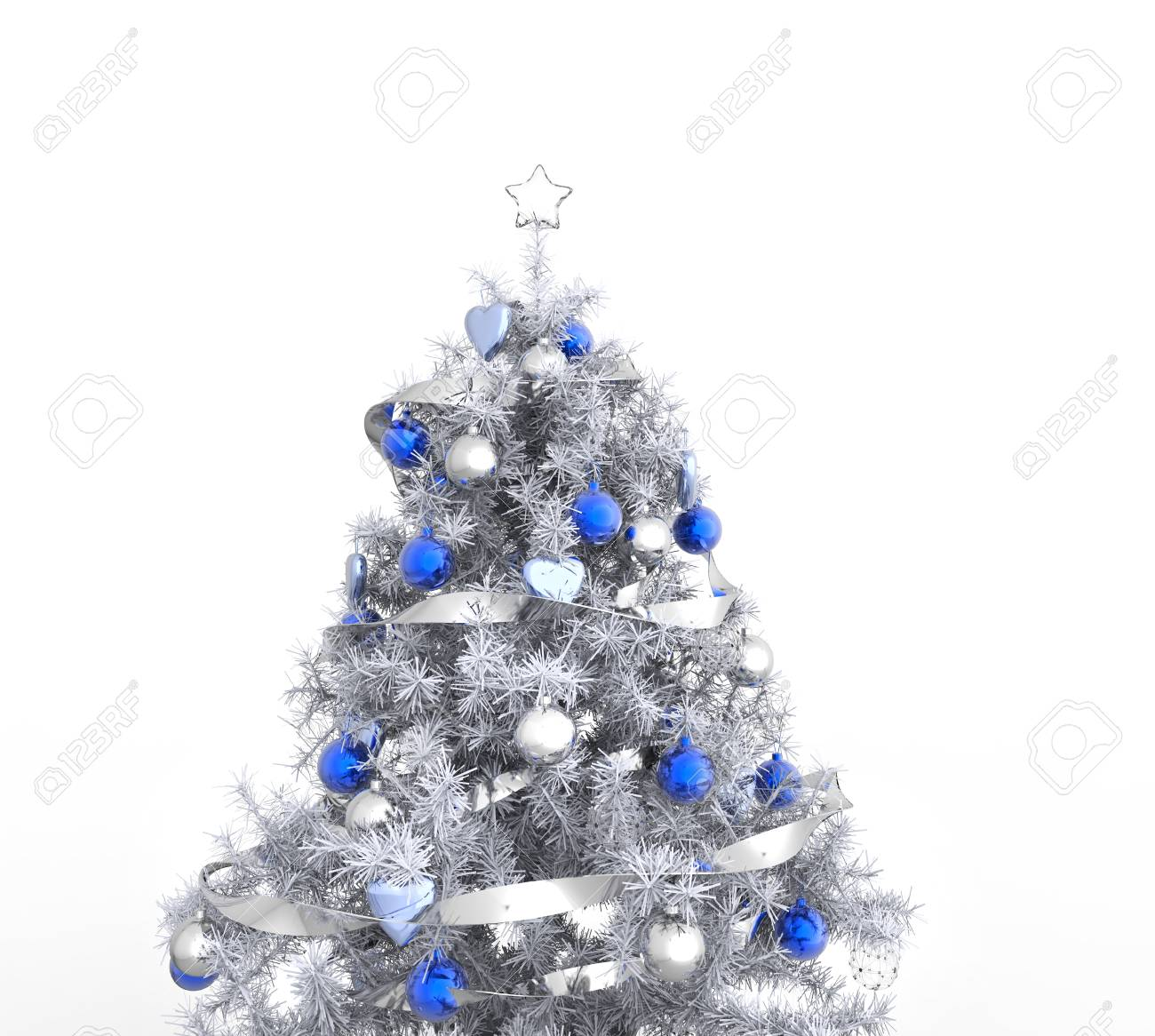White Christmas Tree.White Christmas Tree With Blue Decorations