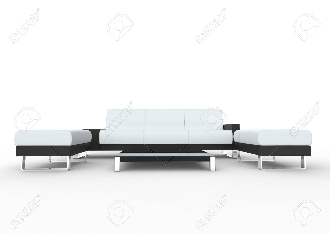Incredible White Modern Sofa With Coffee Table And Two Ottomans Spiritservingveterans Wood Chair Design Ideas Spiritservingveteransorg