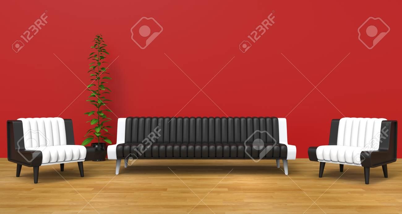 Red Lounge Zimmer Mit Schwarzen Und Weißen Möbeln Lizenzfreie Fotos ...