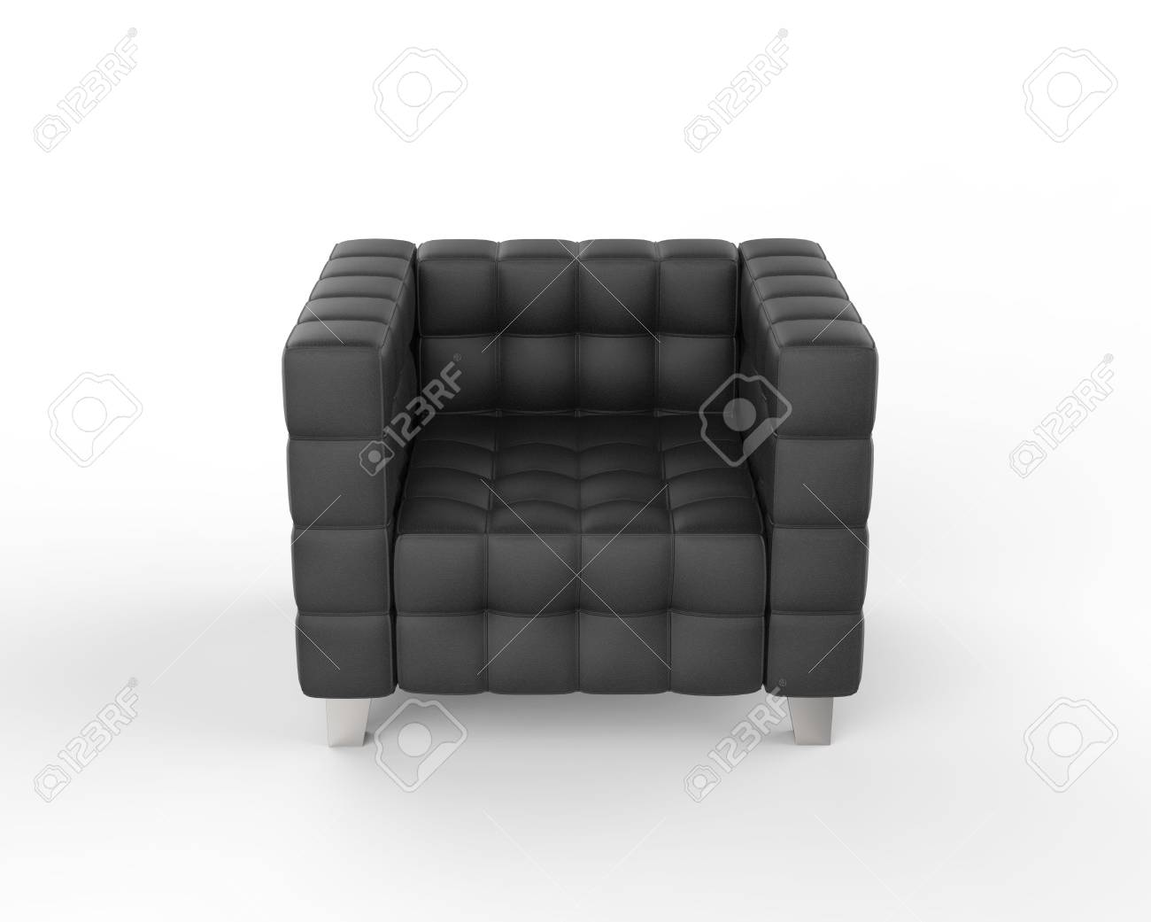 photo black leather armchair on white background front view