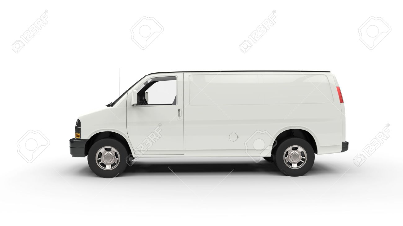 c3824cde18 White Van Side View Stock Photo