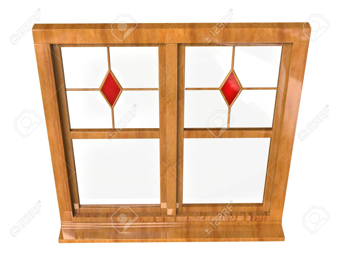 Wooden Window Frame With Stained Glass