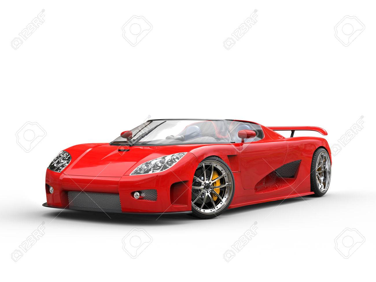 Bright Red Sports Car On White Background Stock Photo   52476622