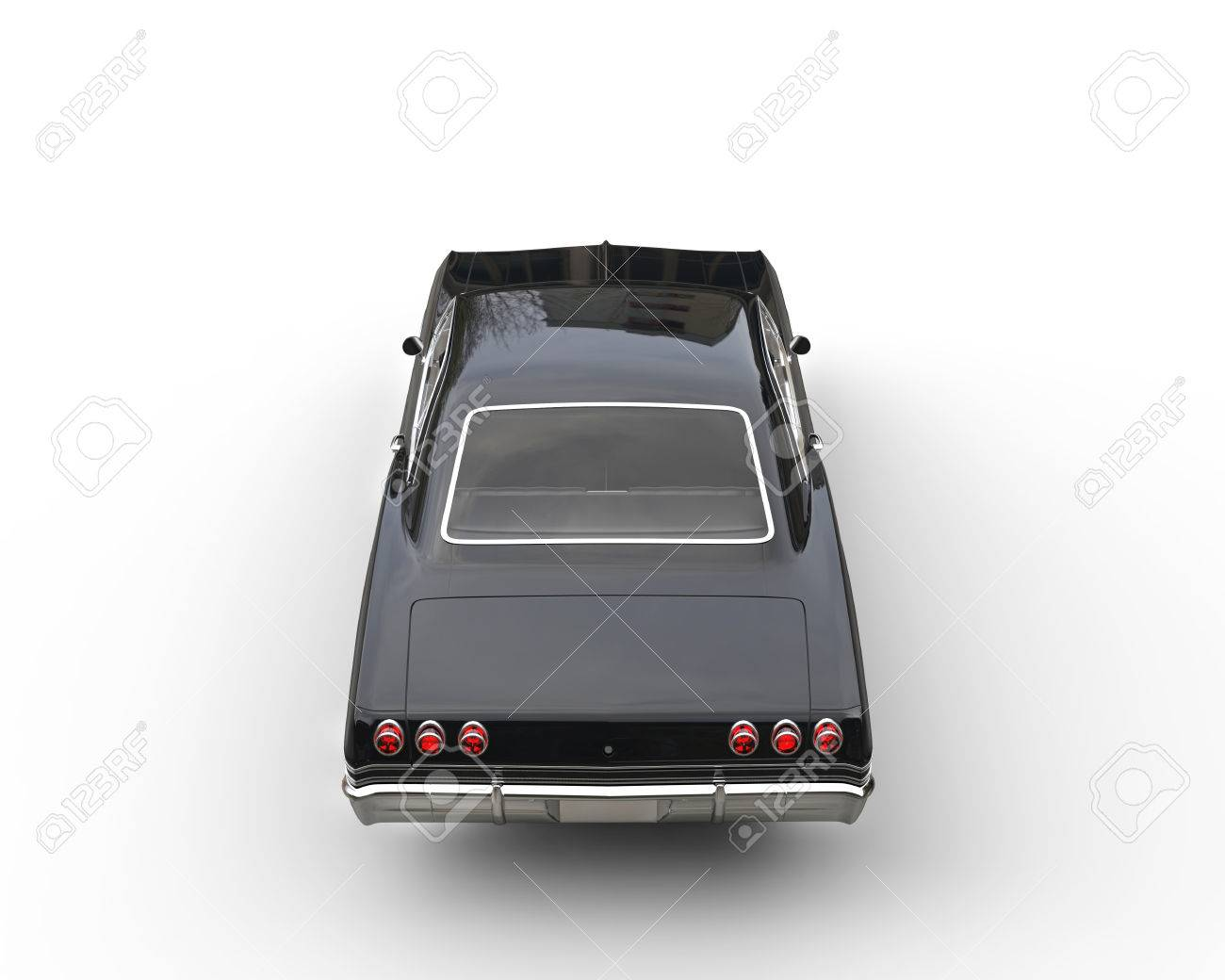 Car Back Top View >> Classic Black Car Studio Shot Top Back View Stock Photo Picture
