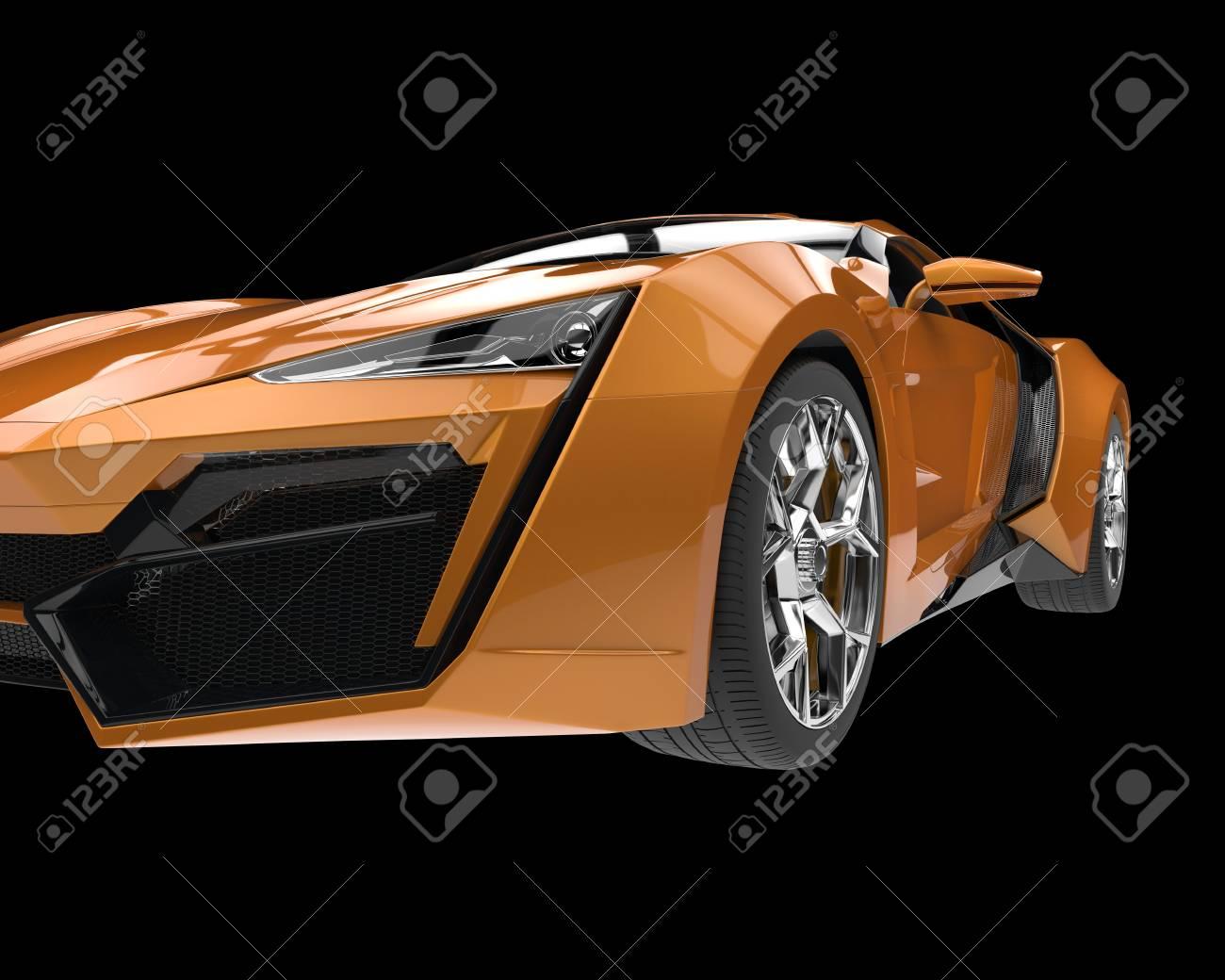 Sports Car Closeup Orange Metallic Paint