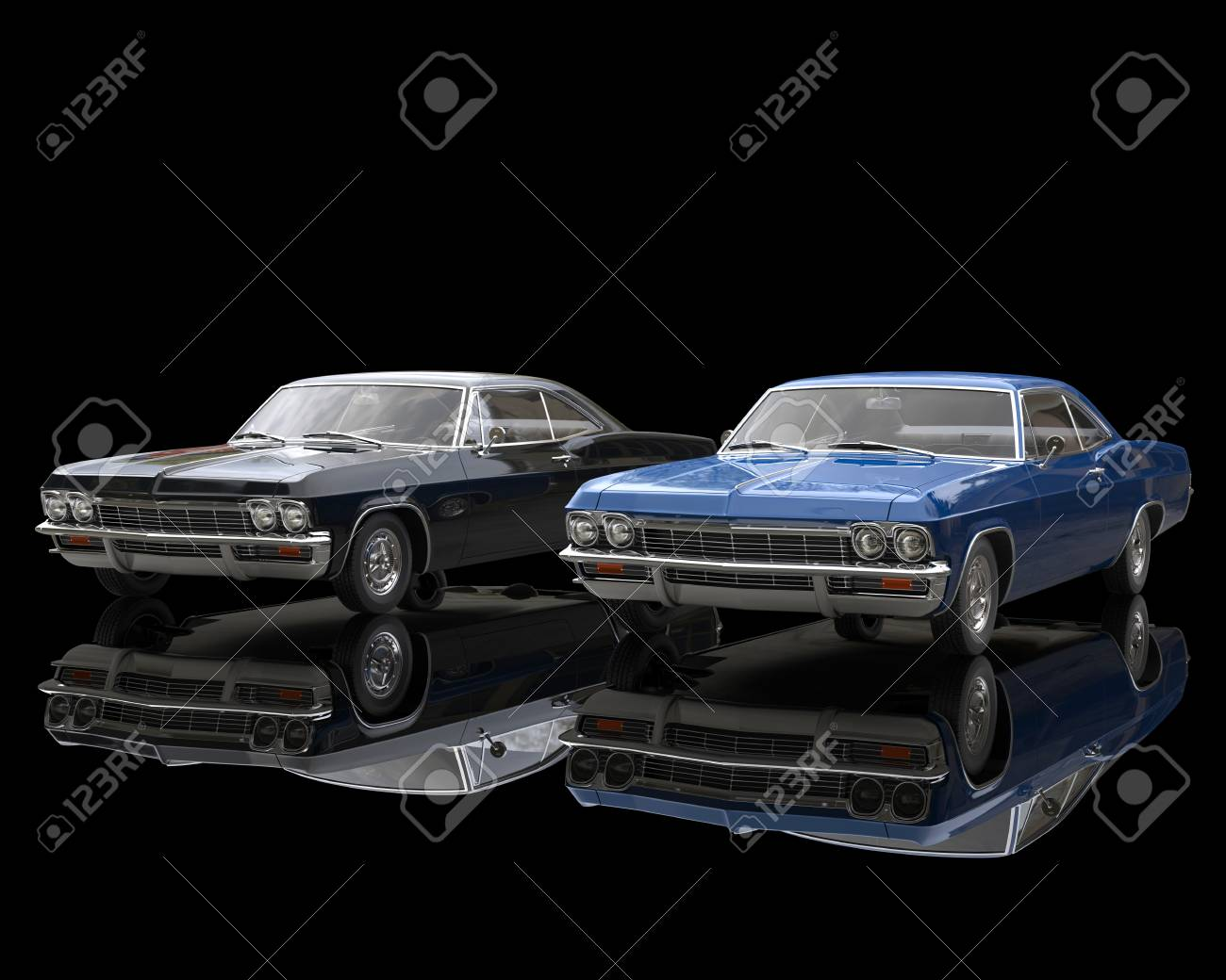 Black And Blue Classic Muscle Cars On Reflective Black Background ...