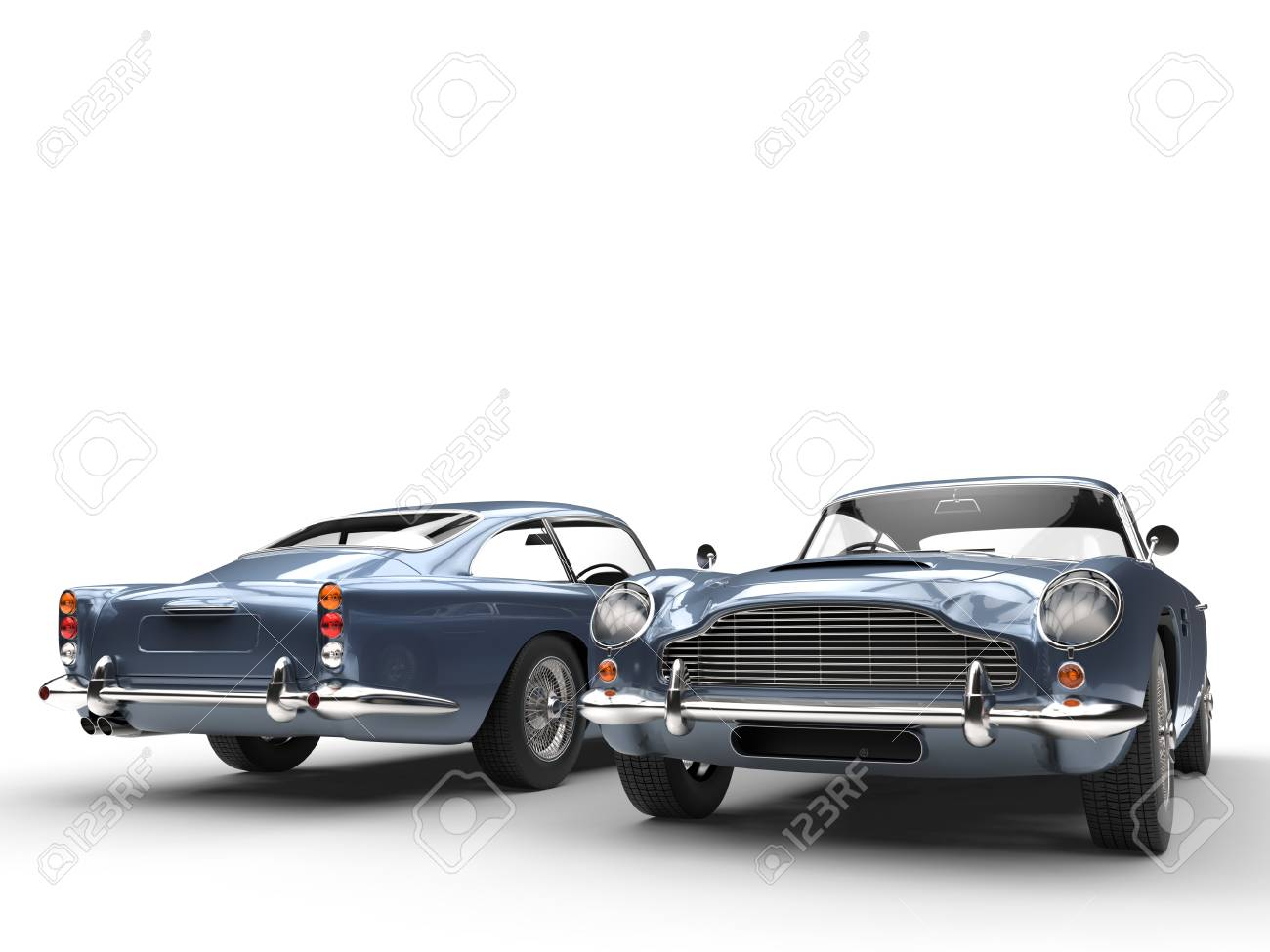 Light Blue Classic Vintage Cars   Front And Back View Stock Photo   54730507