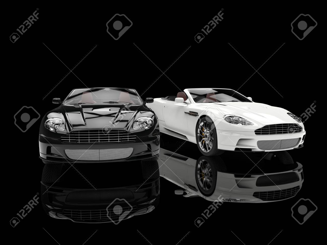 Black And White Luxury Sports Cars Reflection Stock Photo Picture And Royalty Free Image Image 54730417