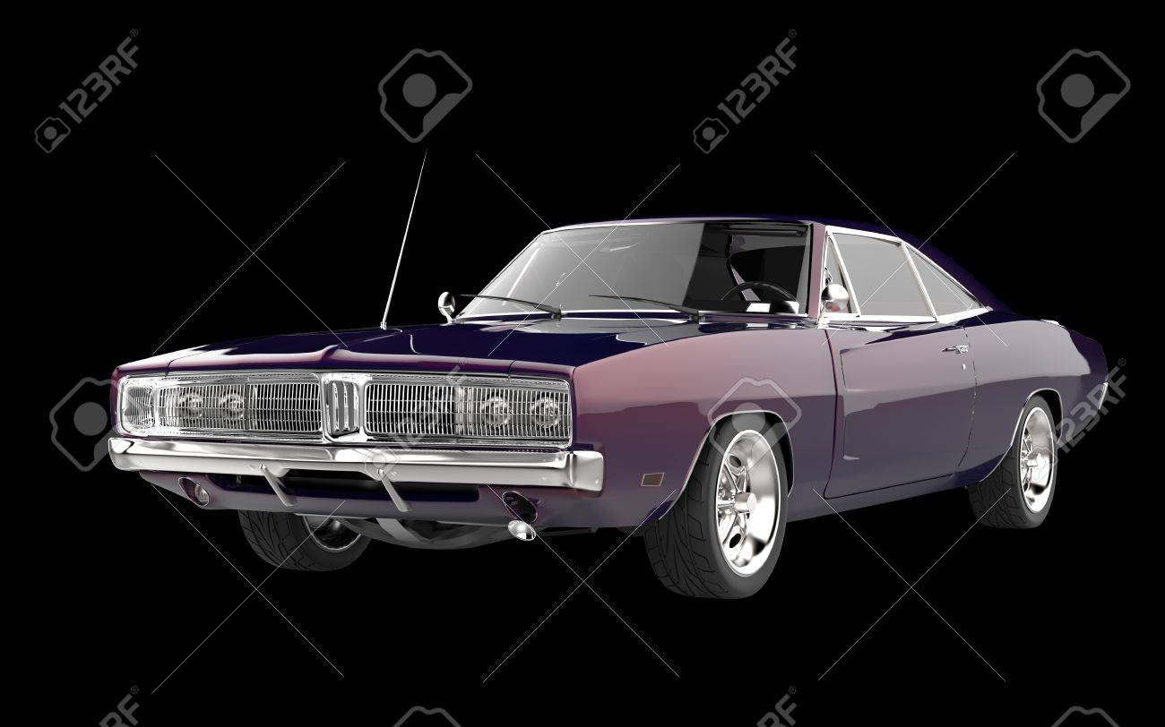 Retro Muscle Car Purple Pearlescent Paint Stock Photo Picture