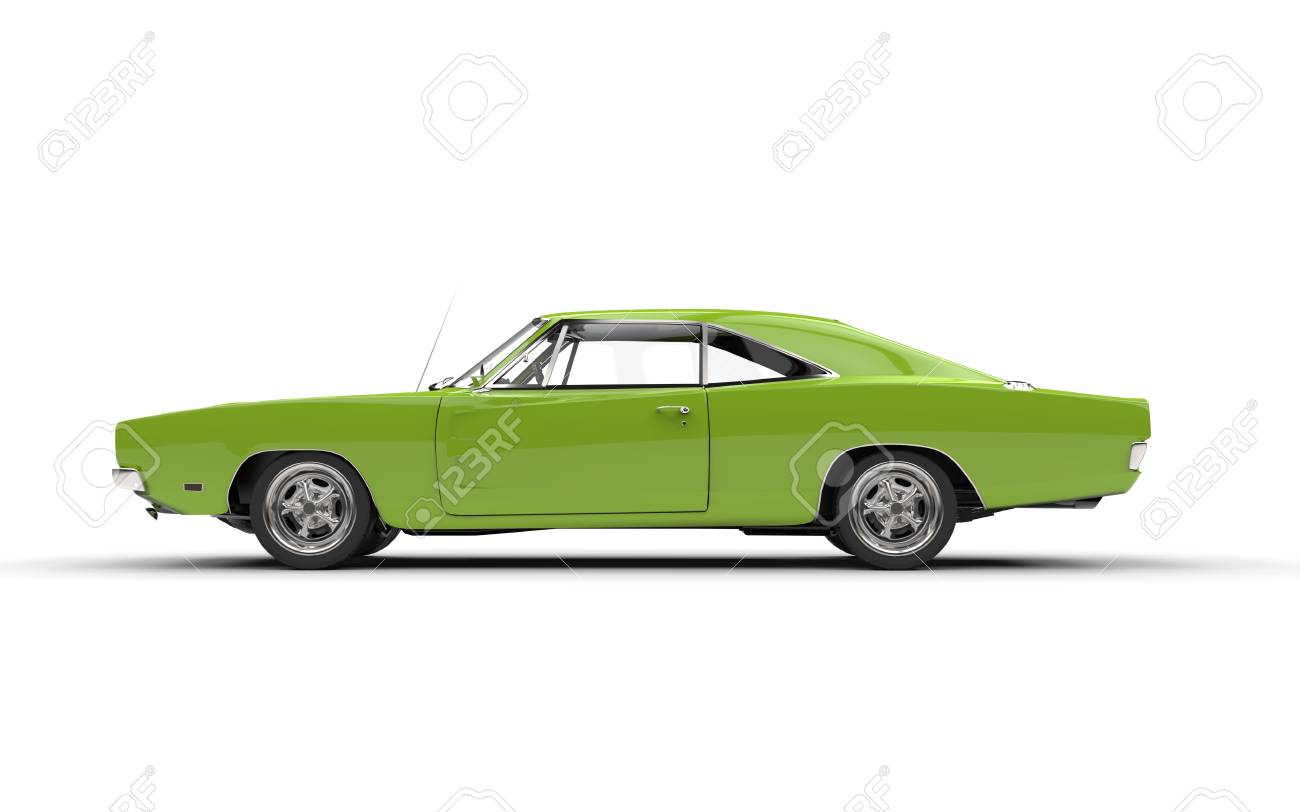 Bright Green Vintage Muscle Car Side View Stock Photo Picture