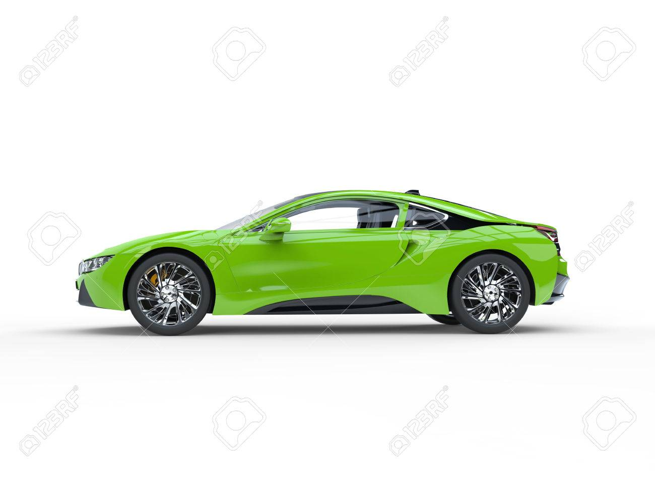 Modern Green Sports Car   Side View   Isolated On White Background. Stock  Photo