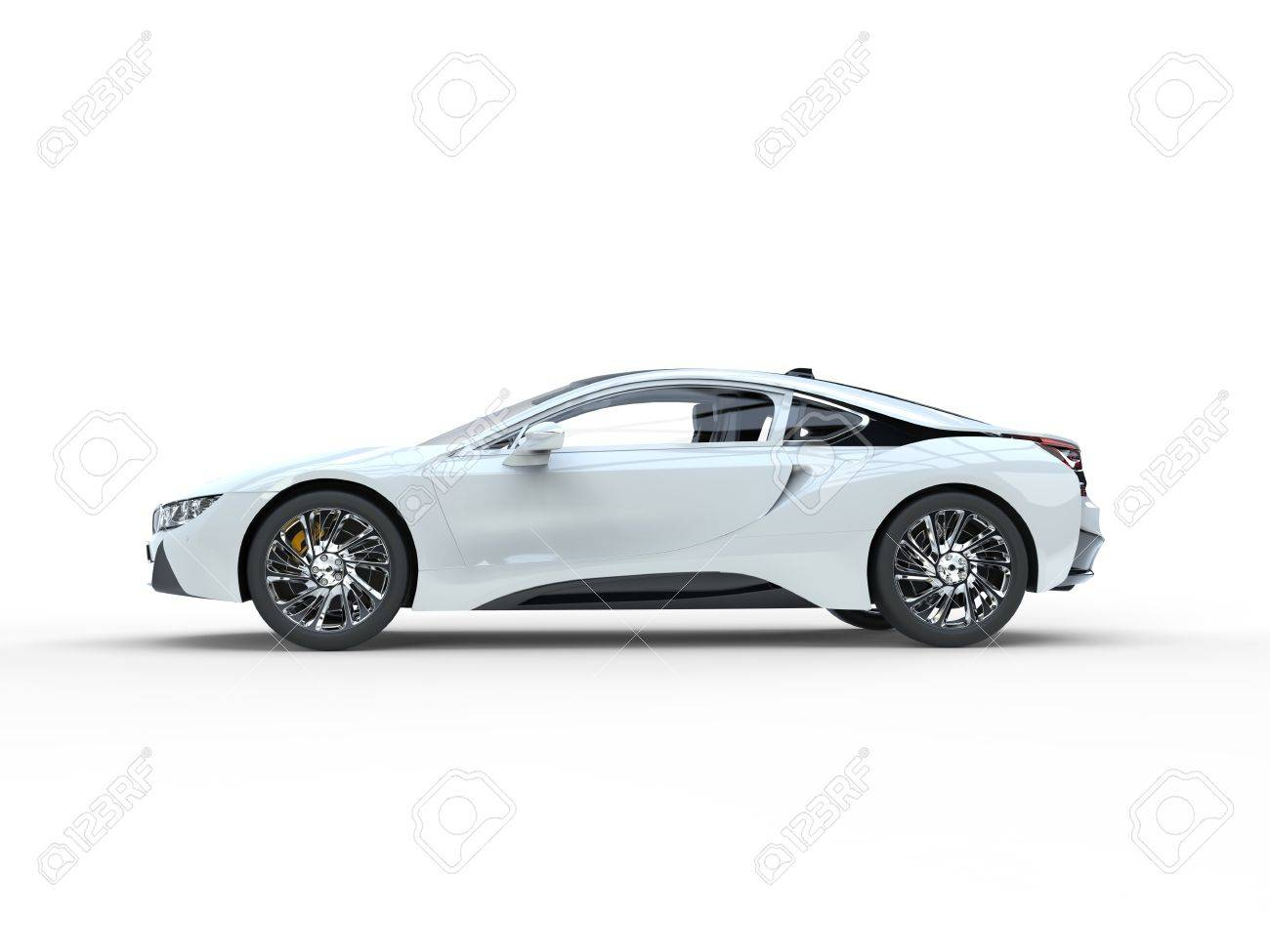 Modern White Sports Car Side View Isolated On White Background