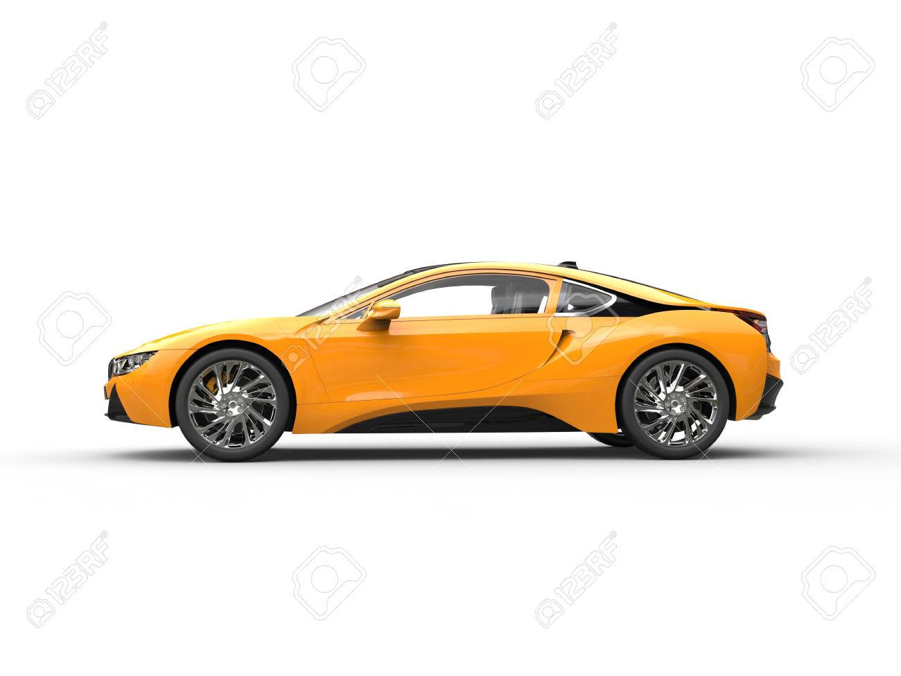 Modern Yellow Sports Car Side View Isolated On White Background