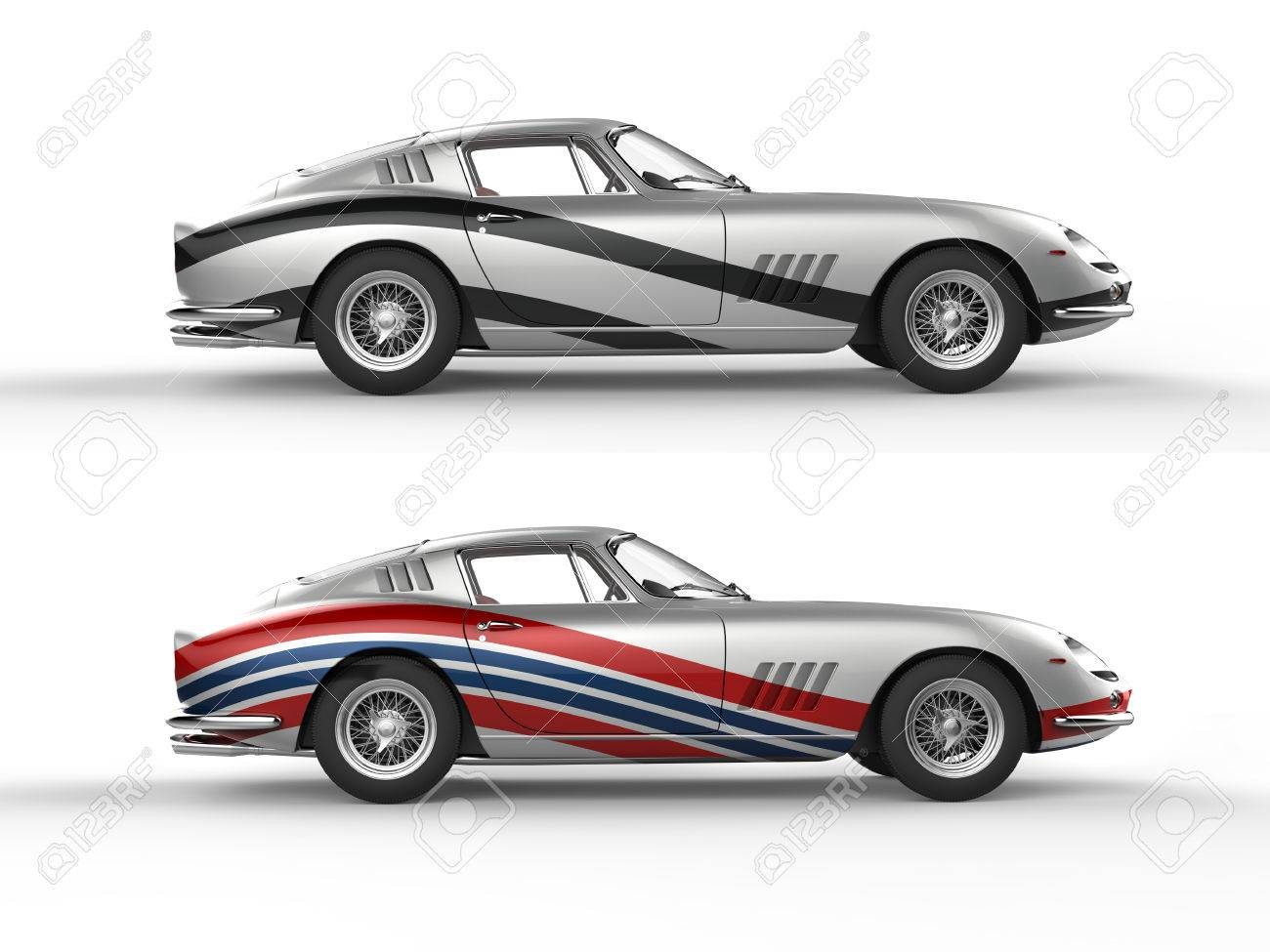 Silver vintage sports cars with racing stripes side view isolated on white background stock