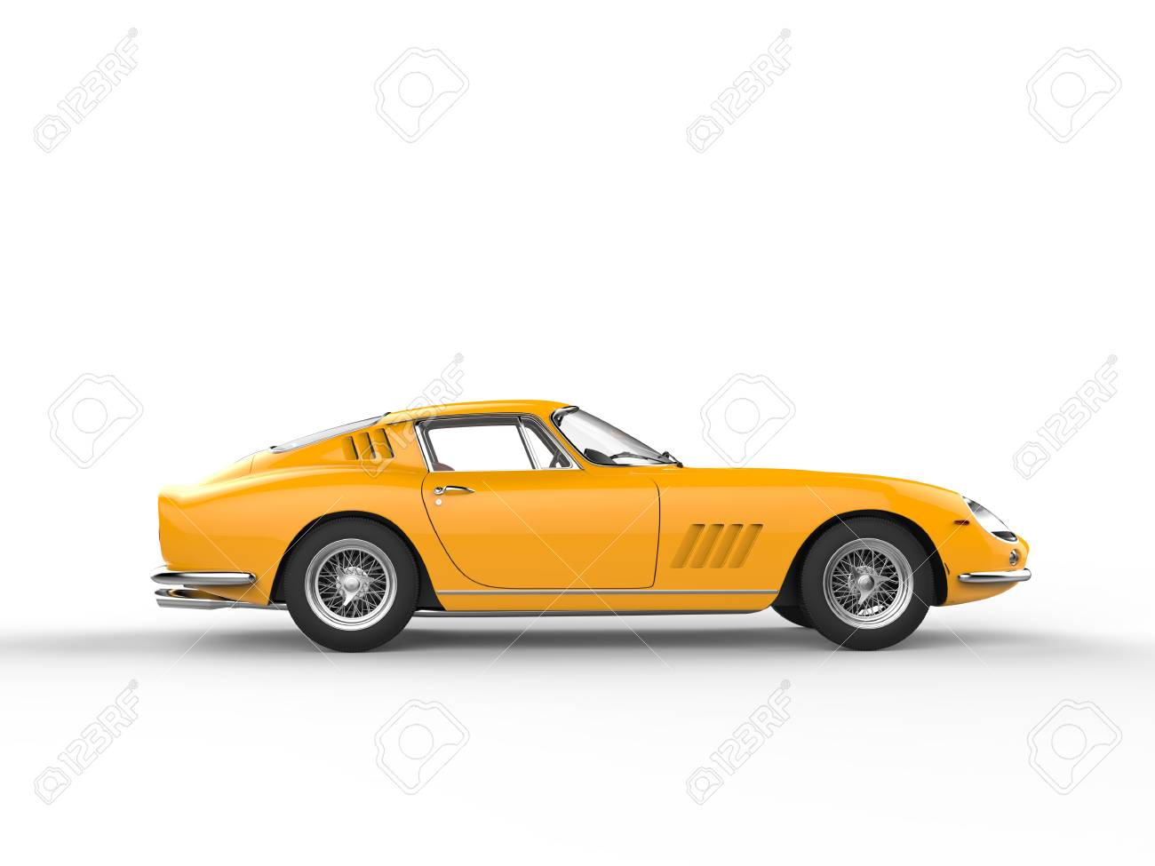 Awesome Yellow Vintage Sports Car Isolated On White Background Stock Photo Picture And Royalty Free Image Image 56828633