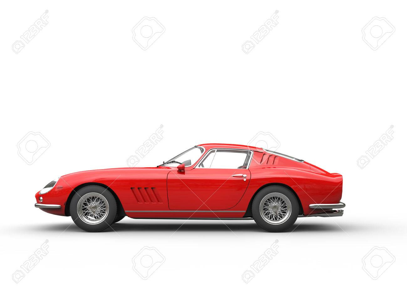 Red Vintage Sports Car   Side View   Isolated On White Background Stock  Photo   56828706