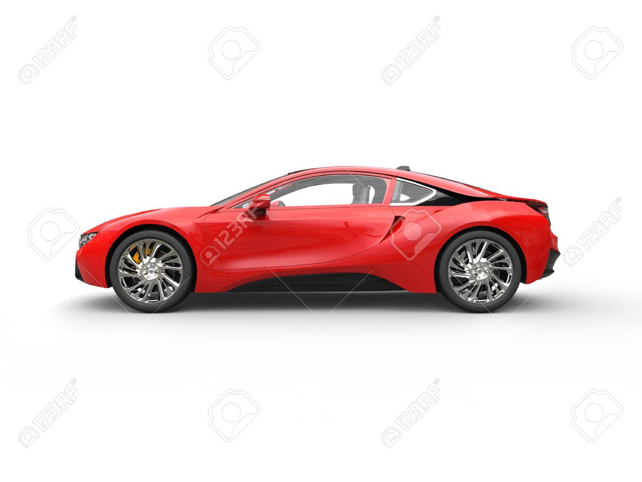 Modern Red Sports Car Side View Isolated On White Background
