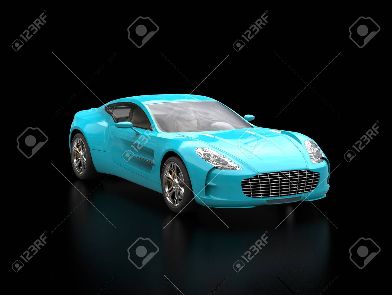 Bright Blue Sportscar On Black Background Blurry Reflection Stock
