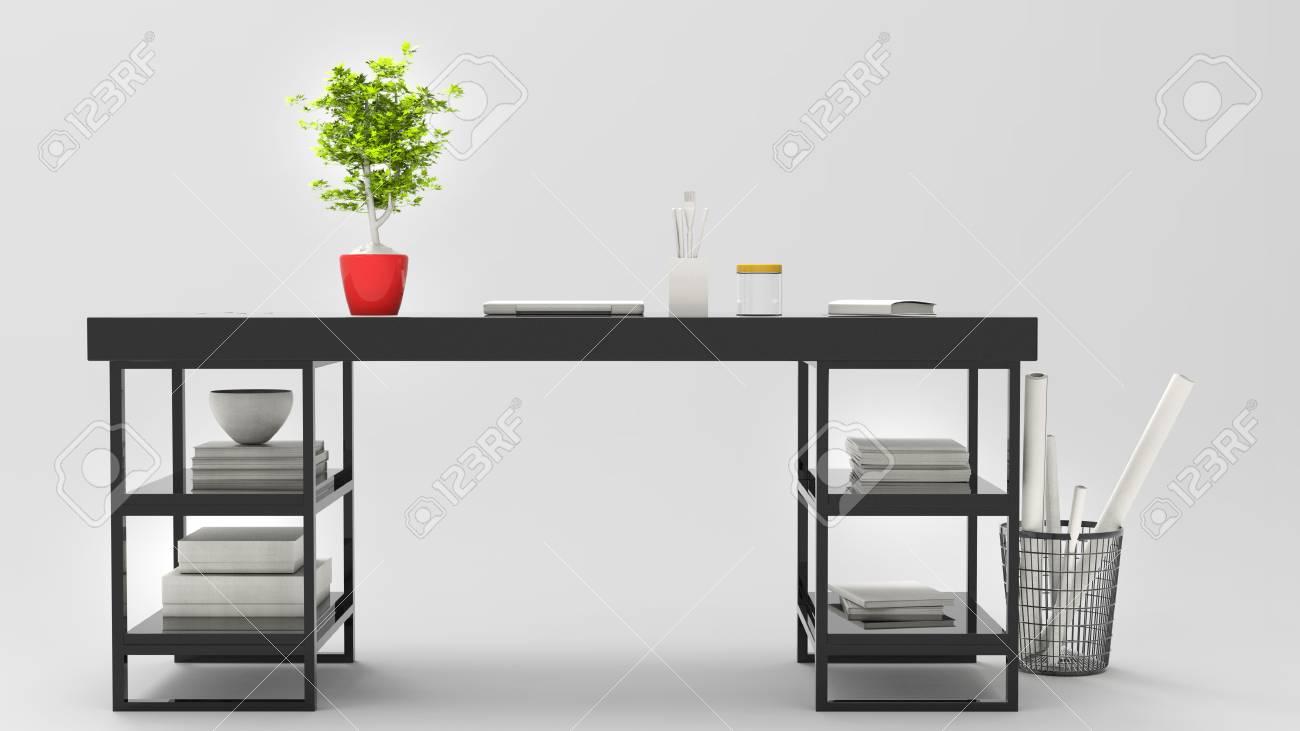 Bureau moderne noir avec belle plante dessus illustration d