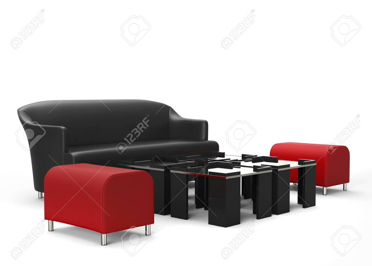 Living Room Furniture Set Red Ottomans In Focus Isolated