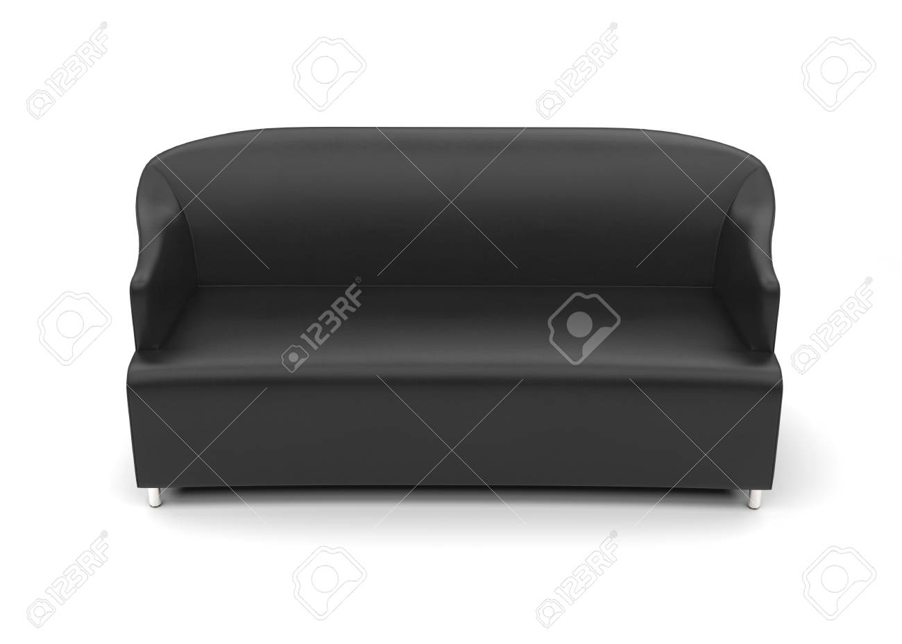 Swell Black Leather Sofa Top View On White Background 3D Render Machost Co Dining Chair Design Ideas Machostcouk