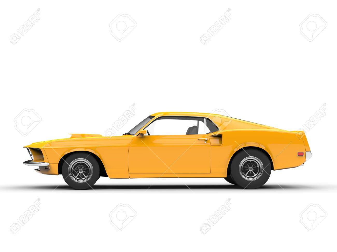 Awesome Yellow Muscle Car Side View Stock Photo Picture And