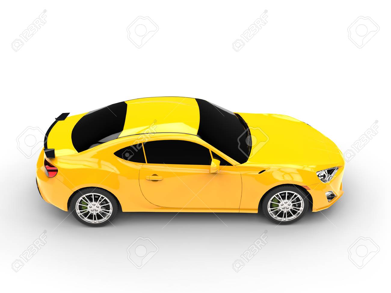 Generic Yellow Sports Car Top View Stock Photo Picture And