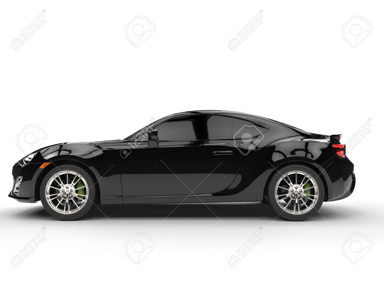 Generic Black Sports Car Side View Stock Photo Picture And