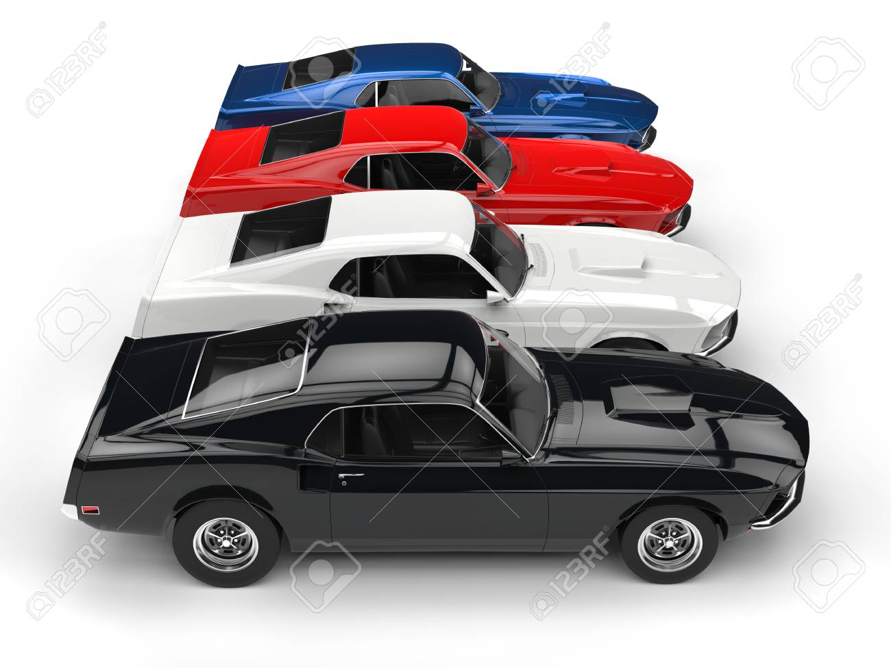 Colorful Classic Muscle Cars - Top View Stock Photo, Picture And ...