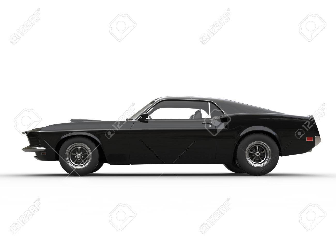 Awesome Black Muscle Car Side View Stock Photo Picture And
