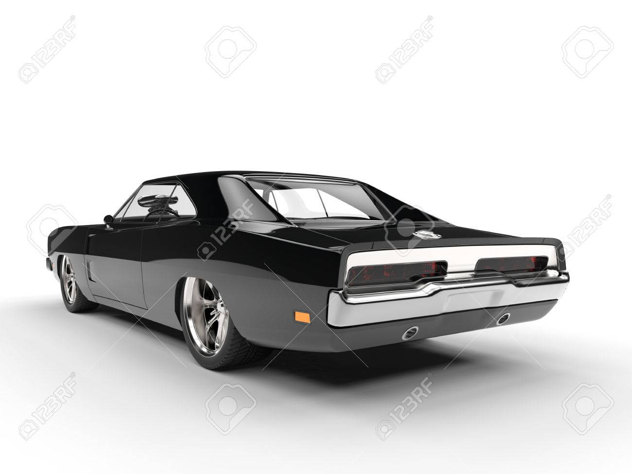 Black Muscle Car Rear View Stock Photo Picture And Royalty Free