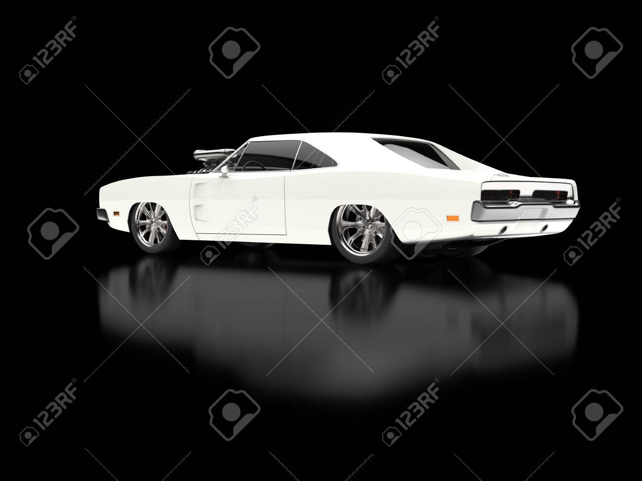 Awesome Vintage White Muscle Car On Black Reflective Background ...