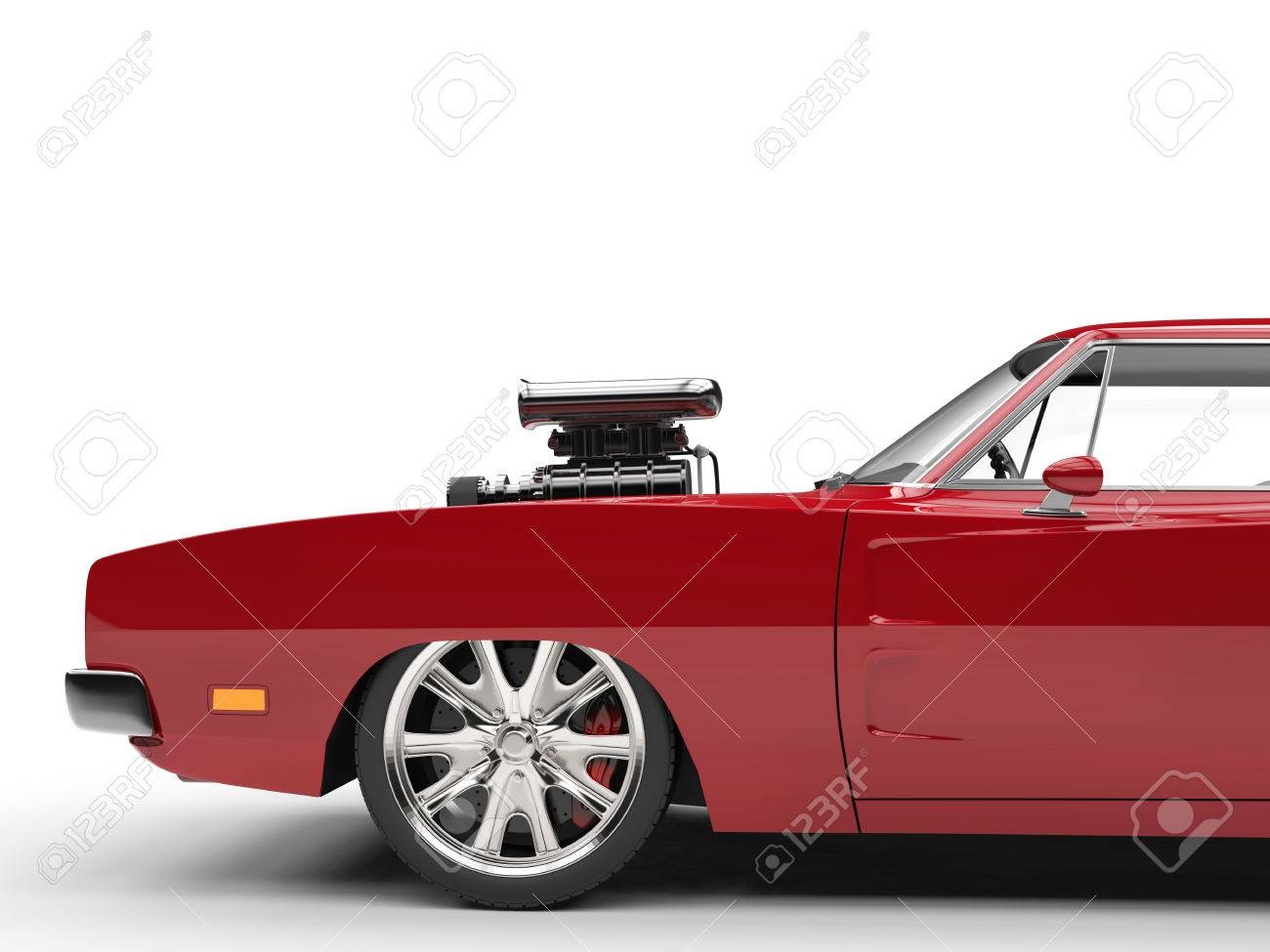 Vintage Red Muscle Car Side View Cut Shot Stock Photo Picture