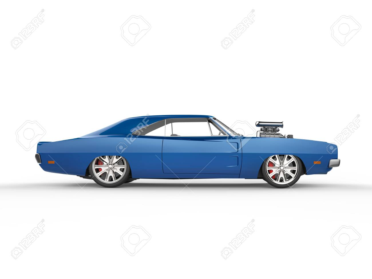 Vintage Blue Muscle Car Side View Stock Photo Picture And Royalty