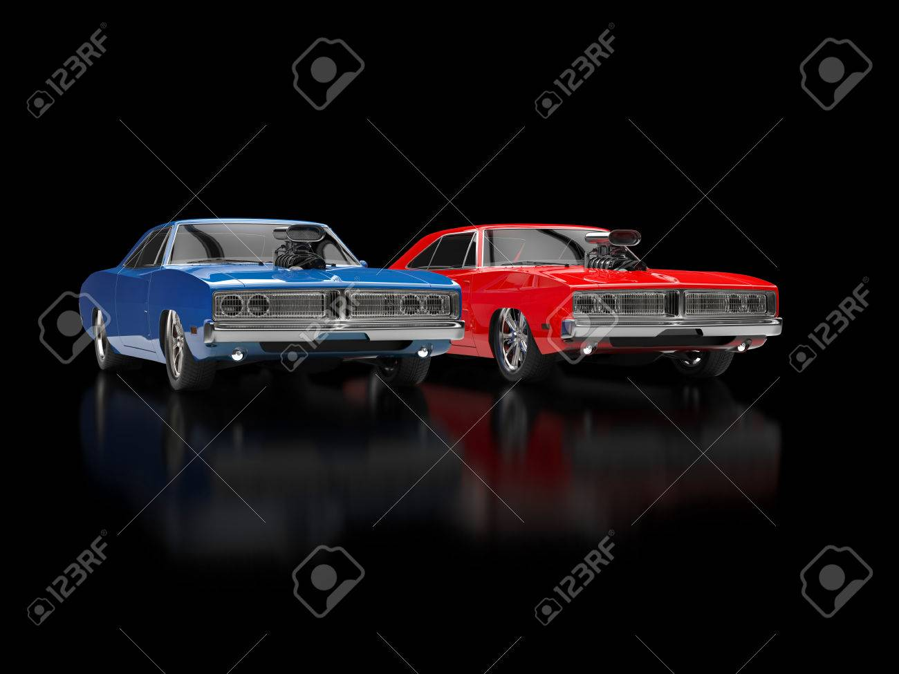 Blue And Red Muscle Cars On Black Reflective Background Stock