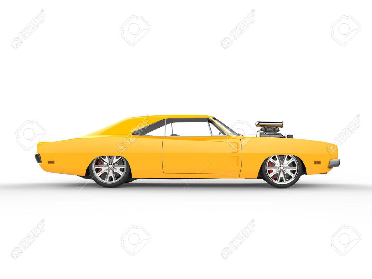 Vintage Yellow Muscle Car Side View Stock Photo Picture And