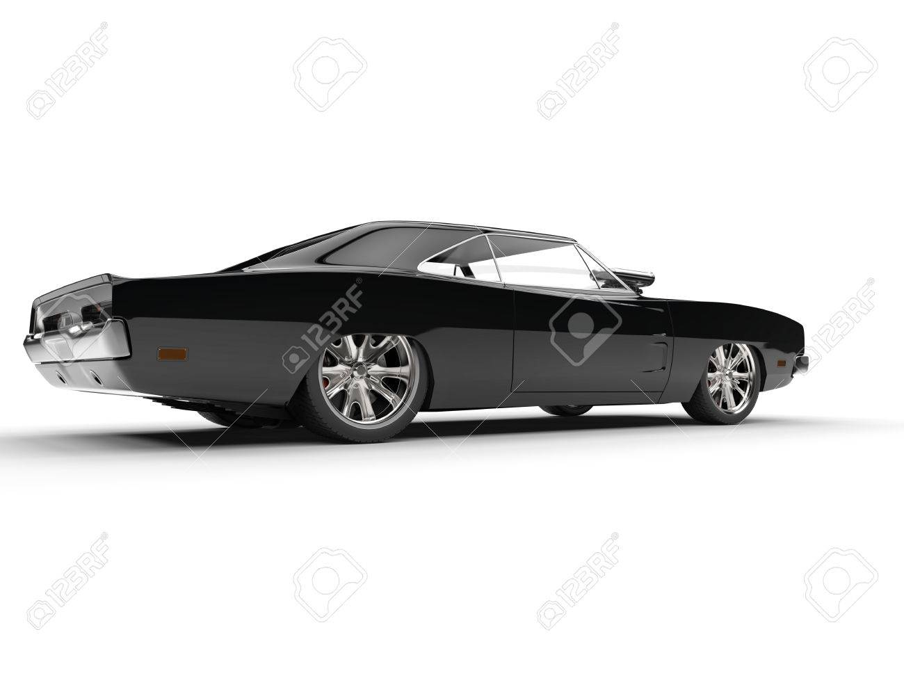 Black Muscle Car Rear Side View Stock Photo Picture And Royalty