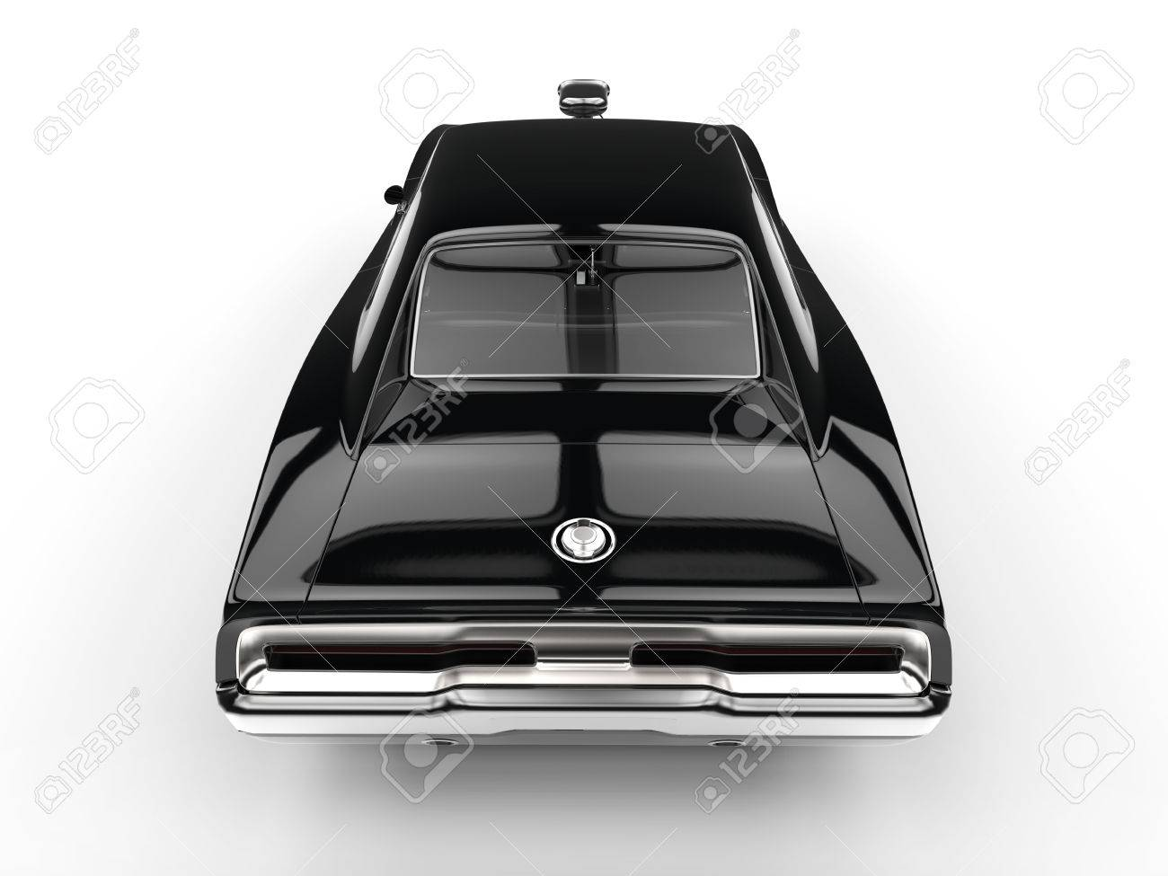 Black Muscle Car - Rear Top View Stock Photo, Picture And Royalty ...