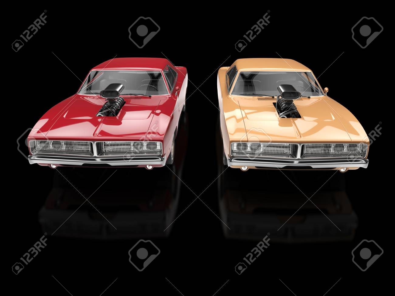 Vintage Muscle Cars Isolated On Black Reflective Background Stock