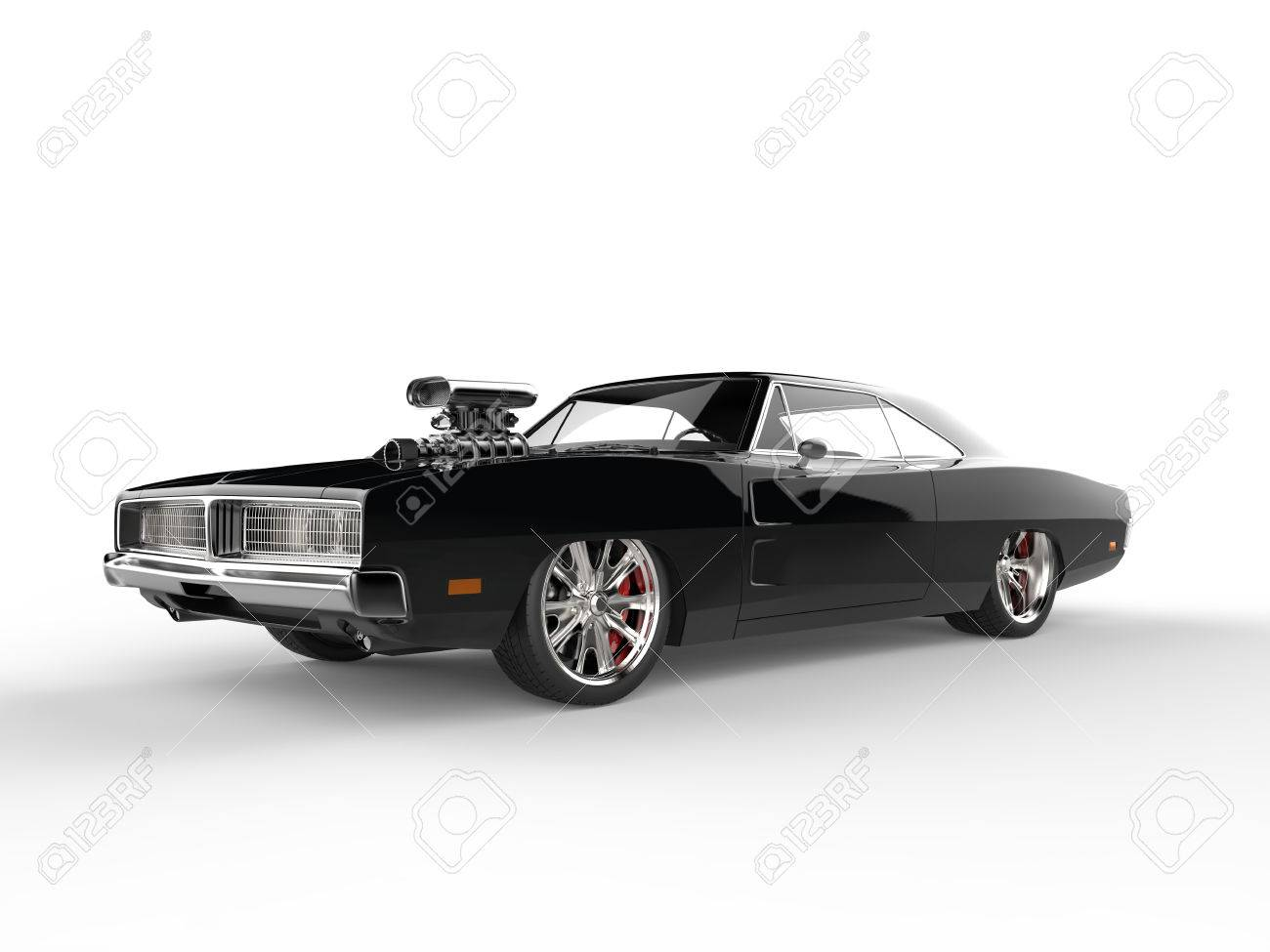 Cool Old School Black Muscle Car Stock Photo, Picture And Royalty ...