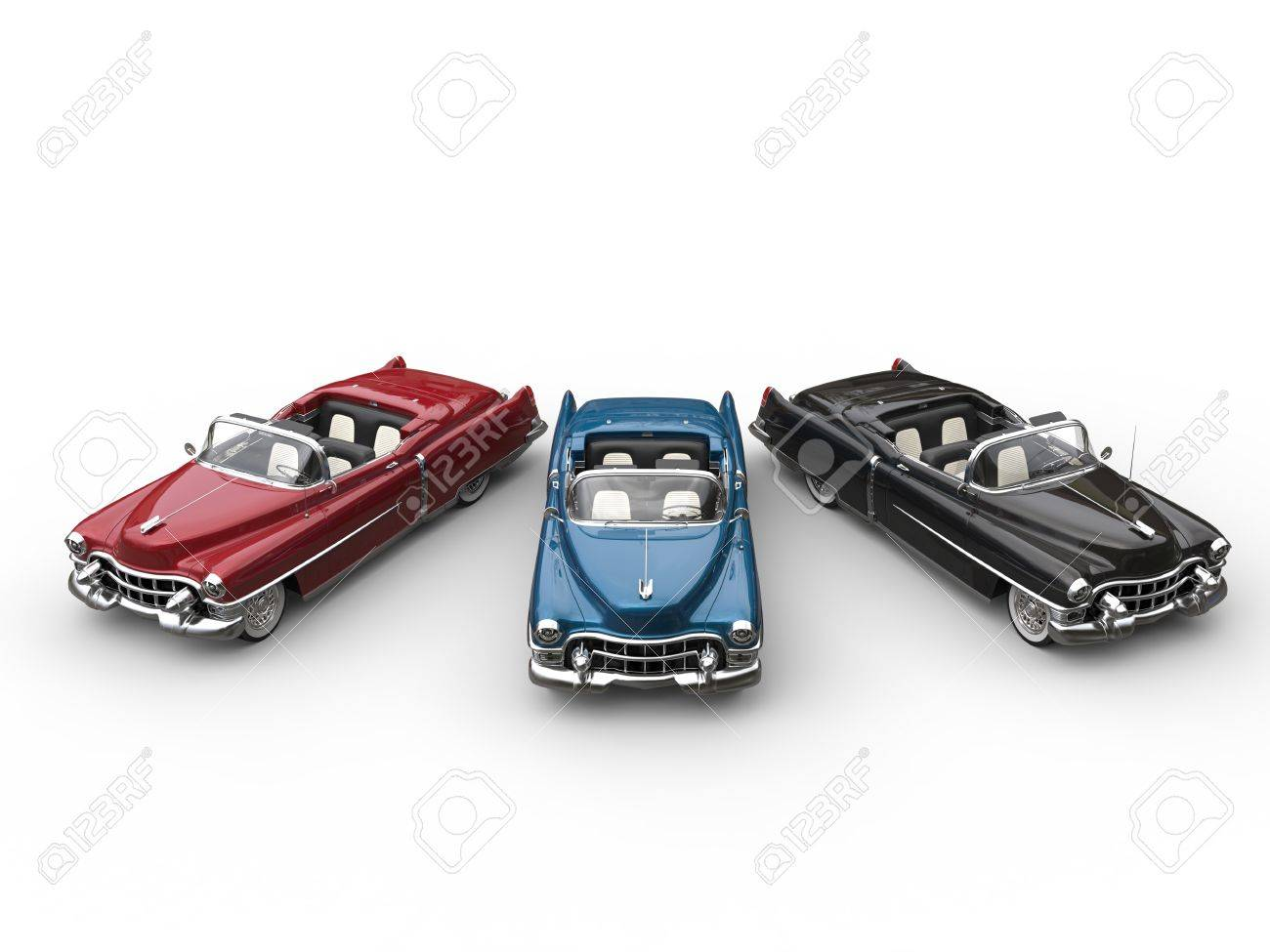 Red, Blue And Black Awesome Vintage Cars In Semi Circle - Top ...