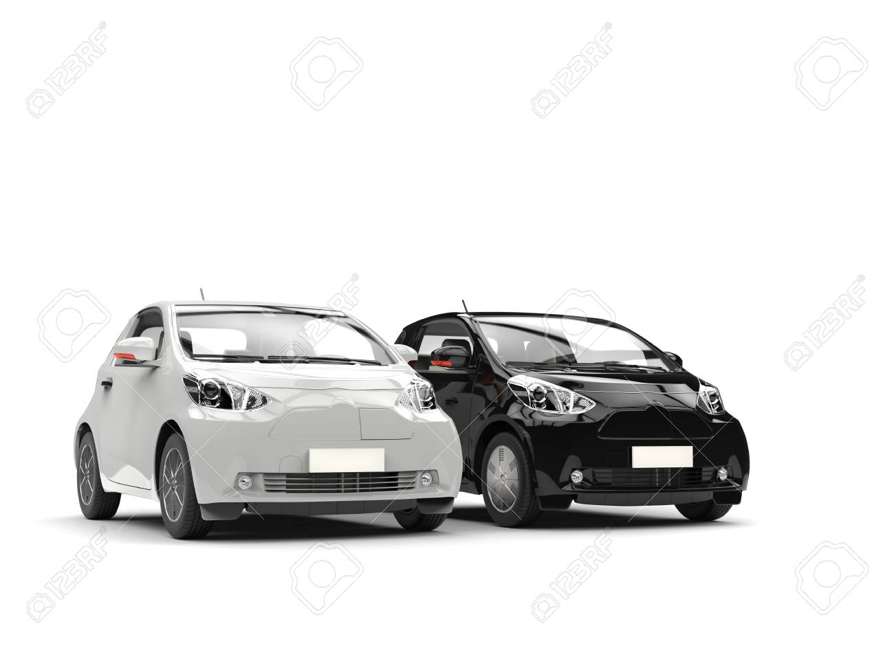 Cool black and white compact urban cars stock photo 73609271