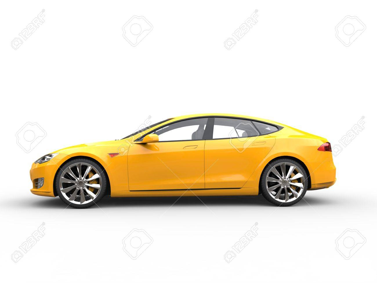 Great Yellow Electric Sports Car Side View Stock Photo Picture