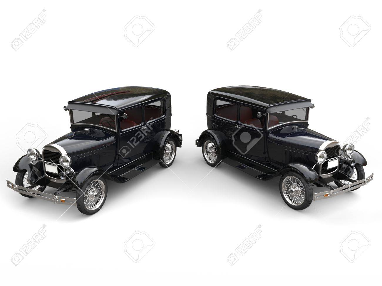 Two Beautiful 1920s Vintage Cars - Side By Side - Top View Stock ...