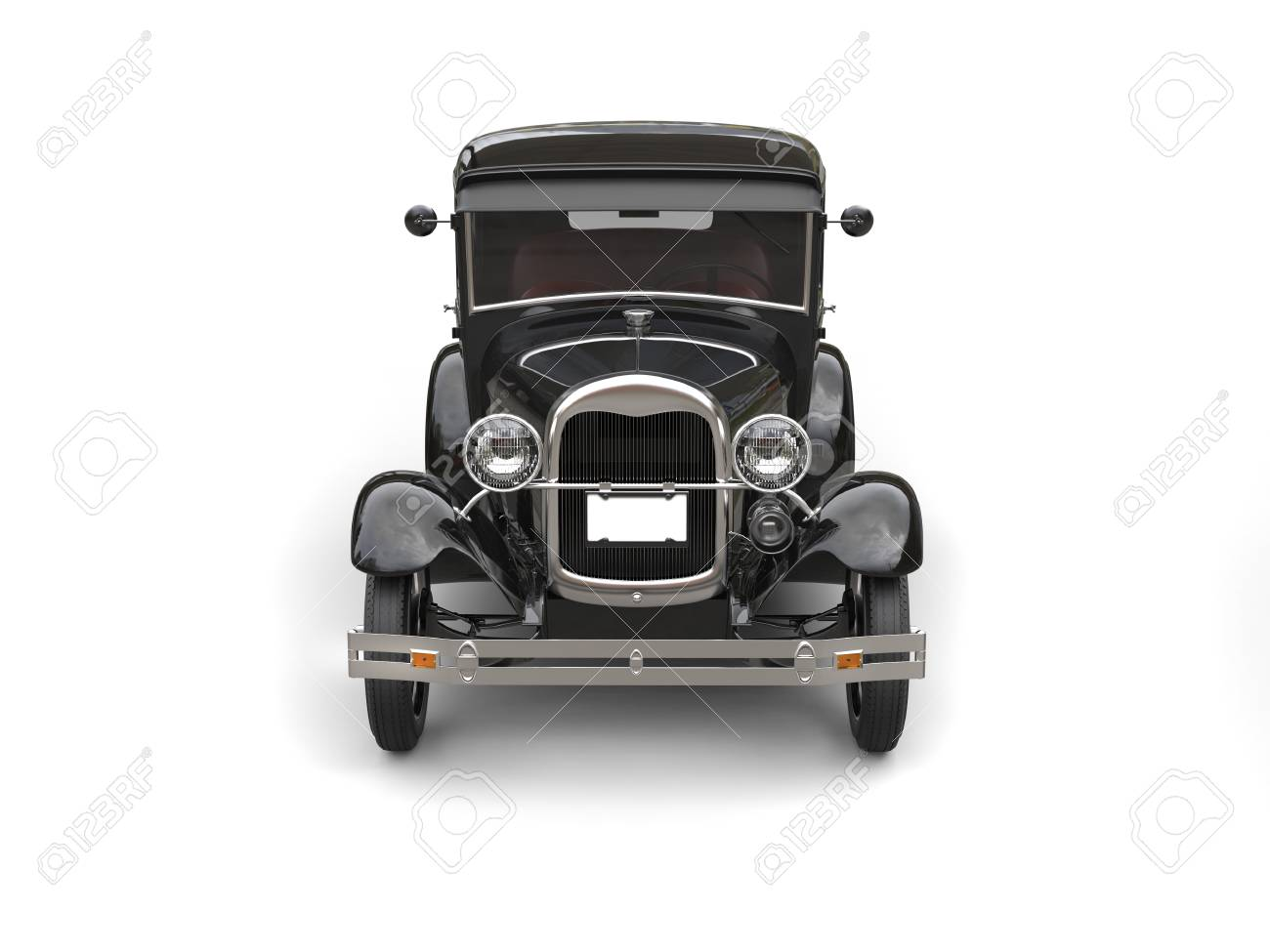 1920s Cool Black Oldtimer Car Front View Stock Photo Picture And