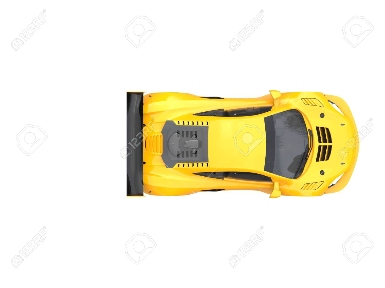 Gold Yellow Modern Sports Car Top Down View Stock Photo Picture