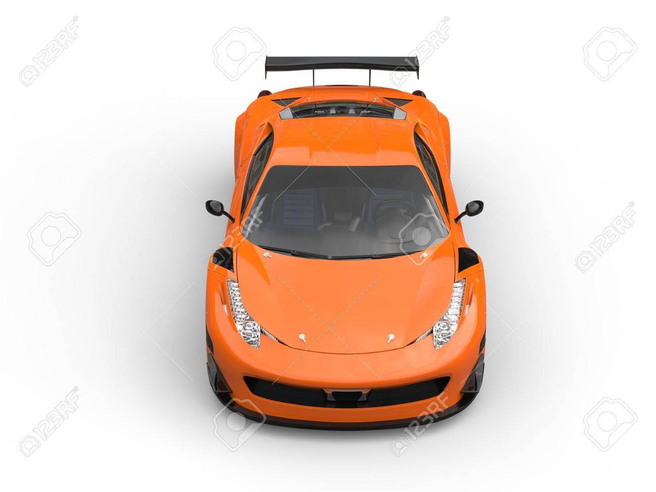 Bright Orange Sports Car Topdown Front View Stock Photo Picture
